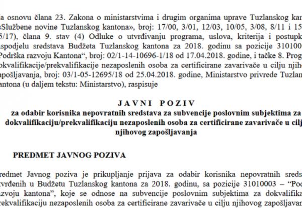 javni poziv prekvalifikacija dokvalifikacija 2018